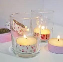 Velas decoradas con cinta de tela adhesiva o fabric tape