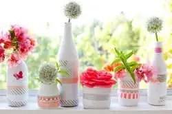 Envases decorados con cinta de tela adhesiva o fabric tape