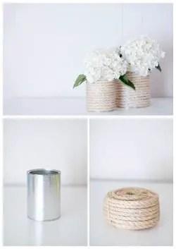 Lata envuelta con cuerda para hacer un florero