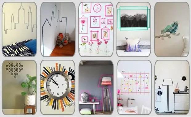 10 ideas geniales para decorar paredes con washi tape por cuatro cuartos Ideas para decorar con washi tape