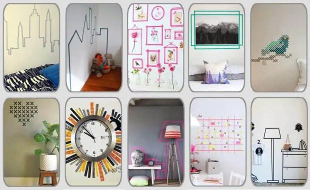 10 ideas geniales para decorar paredes con washi tape