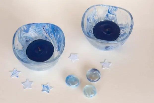 Decoracin de cristal con esmalte de uas efecto veteado