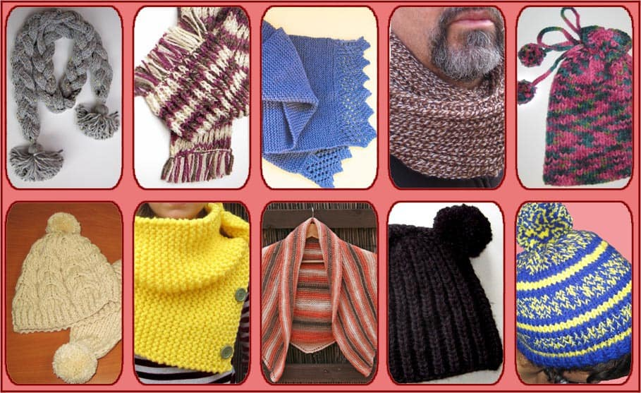 10 patrones fáciles para tejer con dos agujas: gorros, cuellos y bufandas.