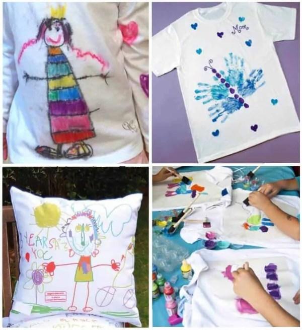 Diferentes dibujos sobre tela realizados por niños