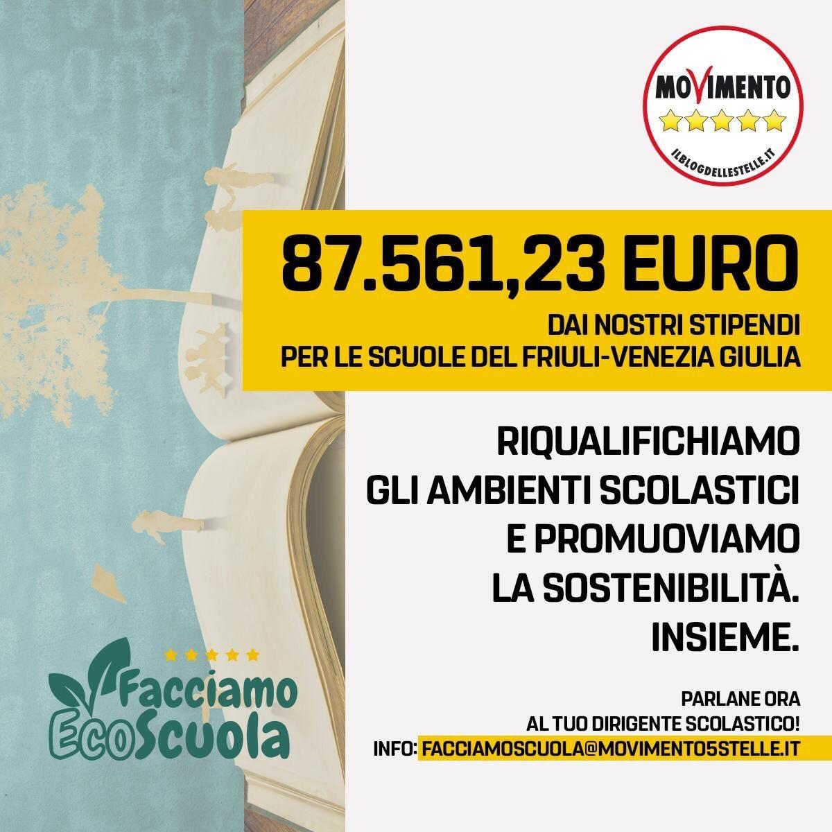 You are currently viewing Dal taglio degli stipendi M5S, 87 mila euro per l'ecosostenibilità delle scuole FVG