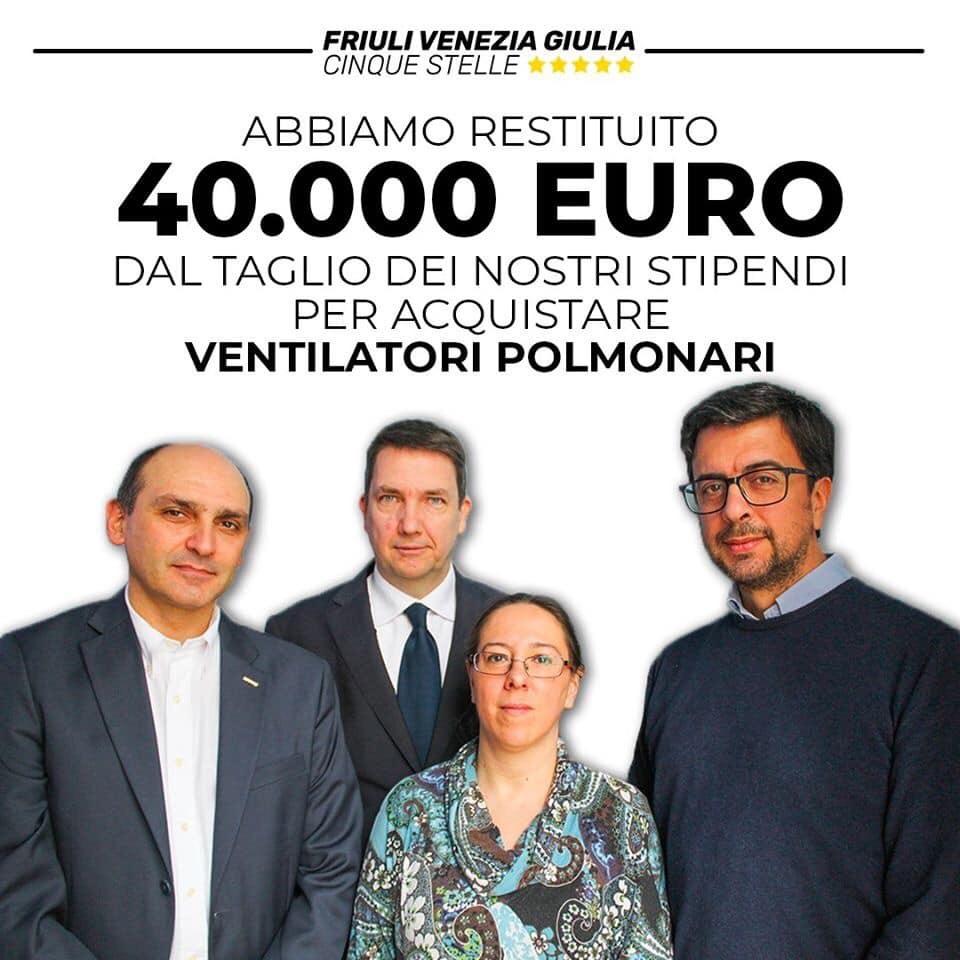 40.000€ del taglio dei nostri stipendi per acquistare ventilatori polmonari