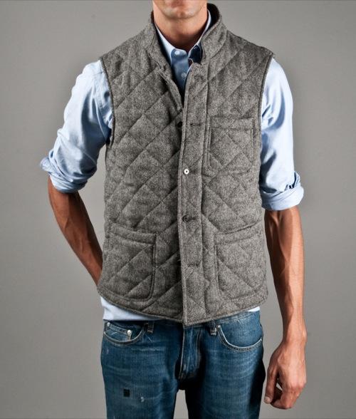 Kitsuné Quilted Herringbone Vest