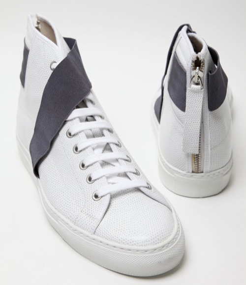Raf Simons White Strapped Hi-Top Sneakers