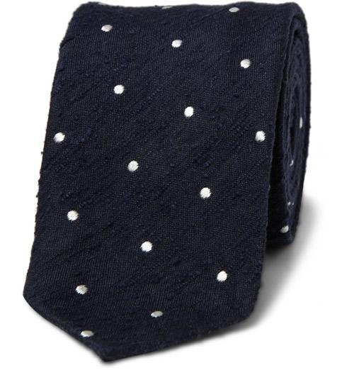 Drake's London Shantung Silk Polka Dot Tie
