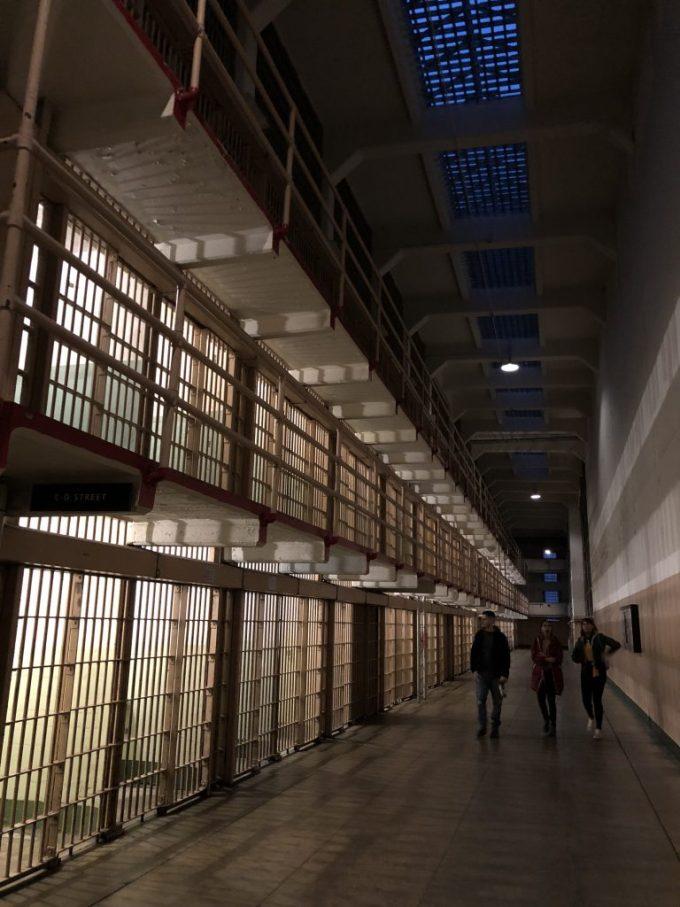 Walking through a cell block at Alcatraz