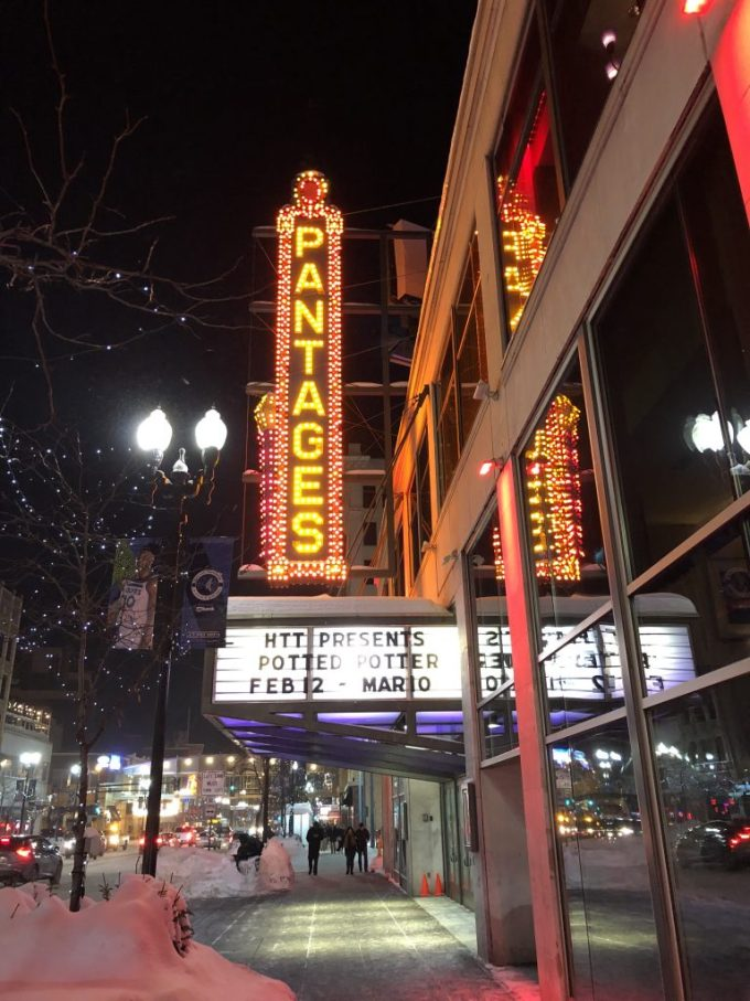 The marquee of the Pantages theatre in downtown Minneapolis, MN