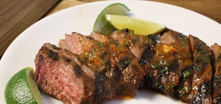 Grilled Skirt Steak with Adobo Butter | Pork Cracklins