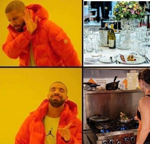 Meme hombre vestido de naranjo diciendo restaurant no, cocinar si.