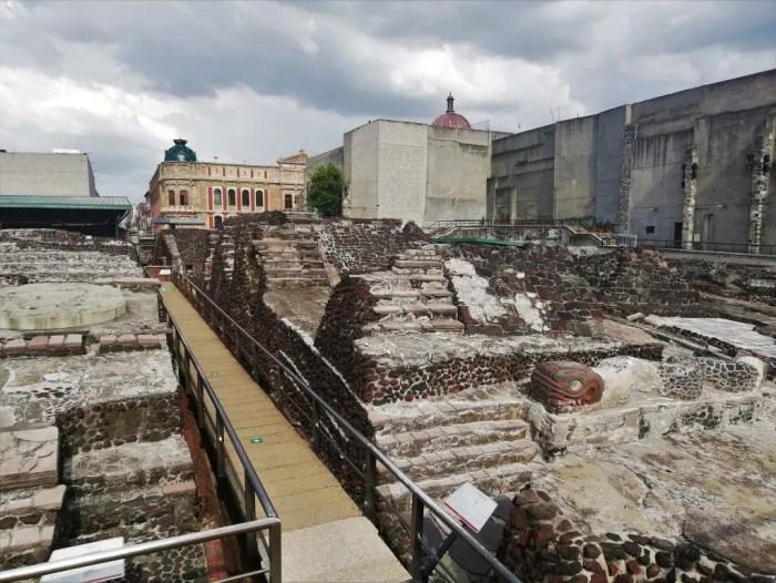 Ruinas del templo Mayor de Ciudad de México.