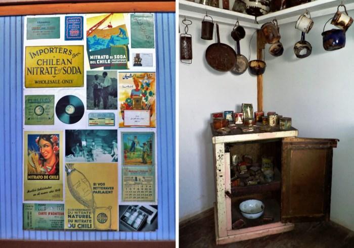 Muestra de anuncios de salitre y cocina de oficina salitrera.