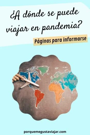 Pin a dónde se puede viajar en pandemia.