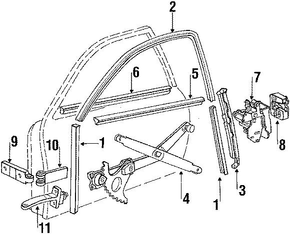 Porsche 924 Door window opener. Window regulator. Manual