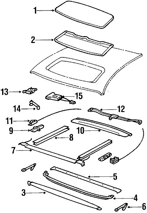 1984 Porsche 928 Sunroof guide rail. Panel & rails. Side