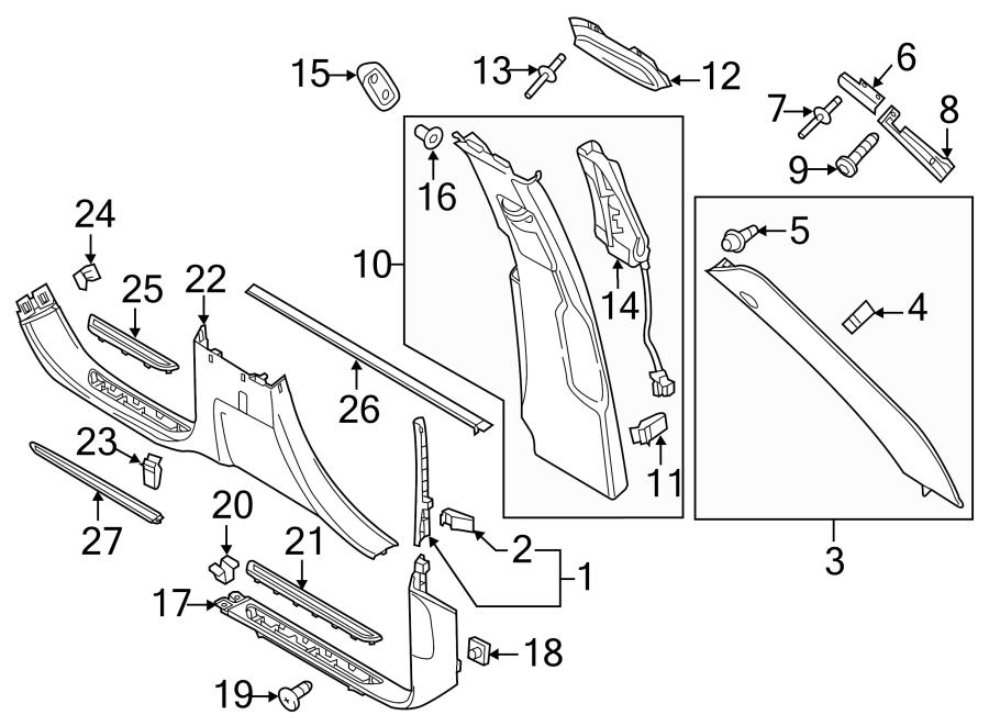 Porsche Cayenne Door Pillar Post Trim Set. Cloth, w/4 zone