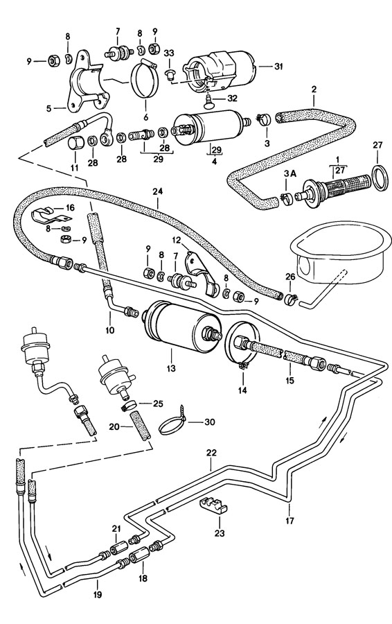 Porsche 944 With in-tank fuel pump fuel strainer fuel