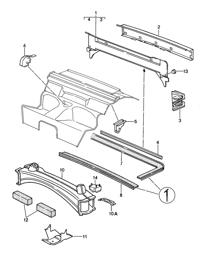 Porsche 911 engine compartment seal. PACKING-ENGINE COMPA