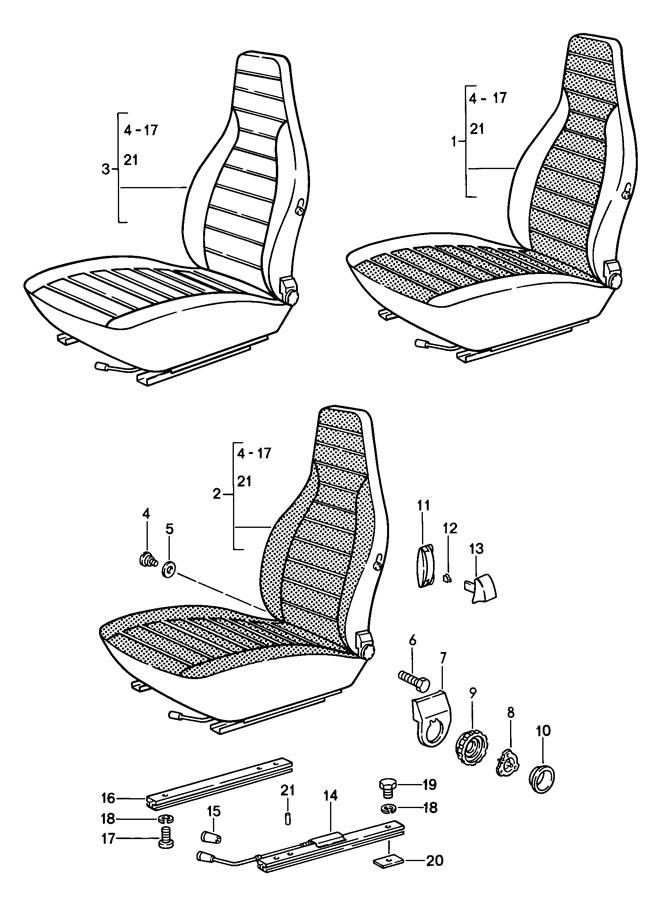 Porsche 911 Seat rail. Seat track. Inner. Manual w/o