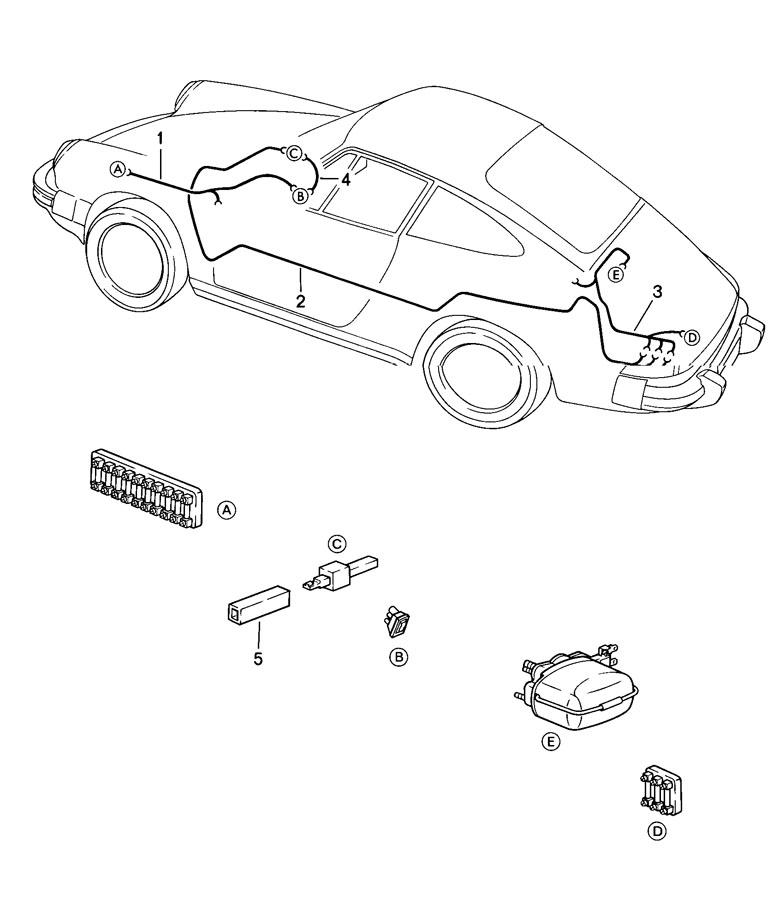 Porsche 911 Wiring harness wiper motor rear window wiper