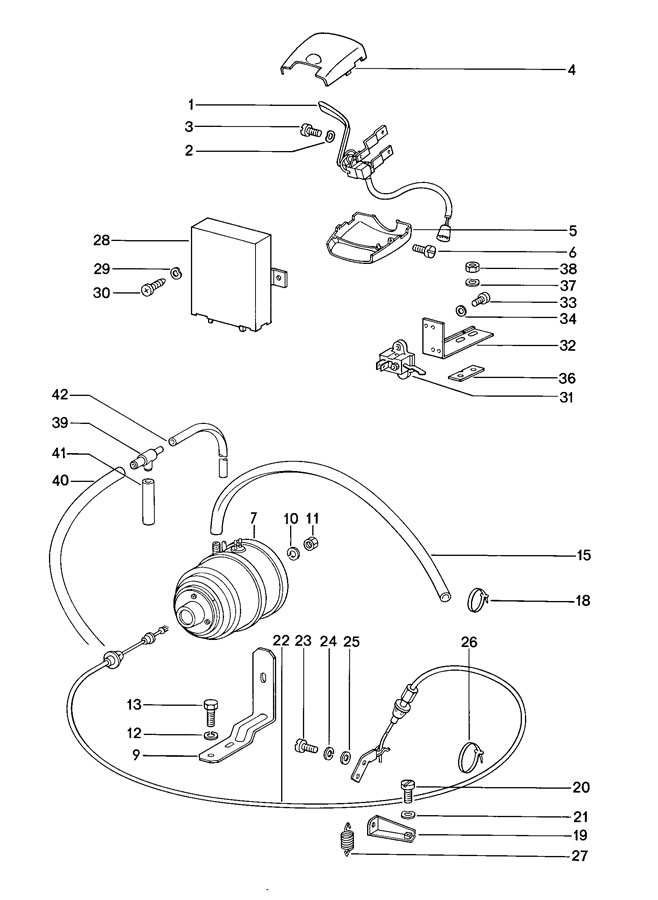 Porsche 911 Wiring harness tunnel cruise control regulator