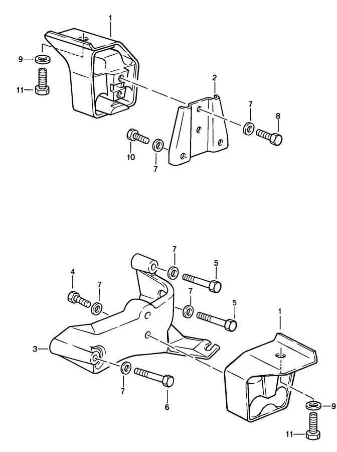Porsche 924 Mount insulator bracket. TRANSMISSION. SUPPORT