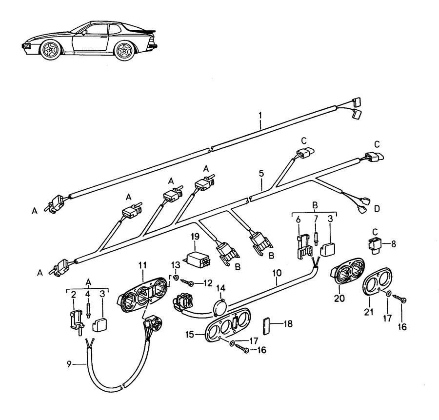 1988 Porsche 944 Switch insert seat heater lumbar support
