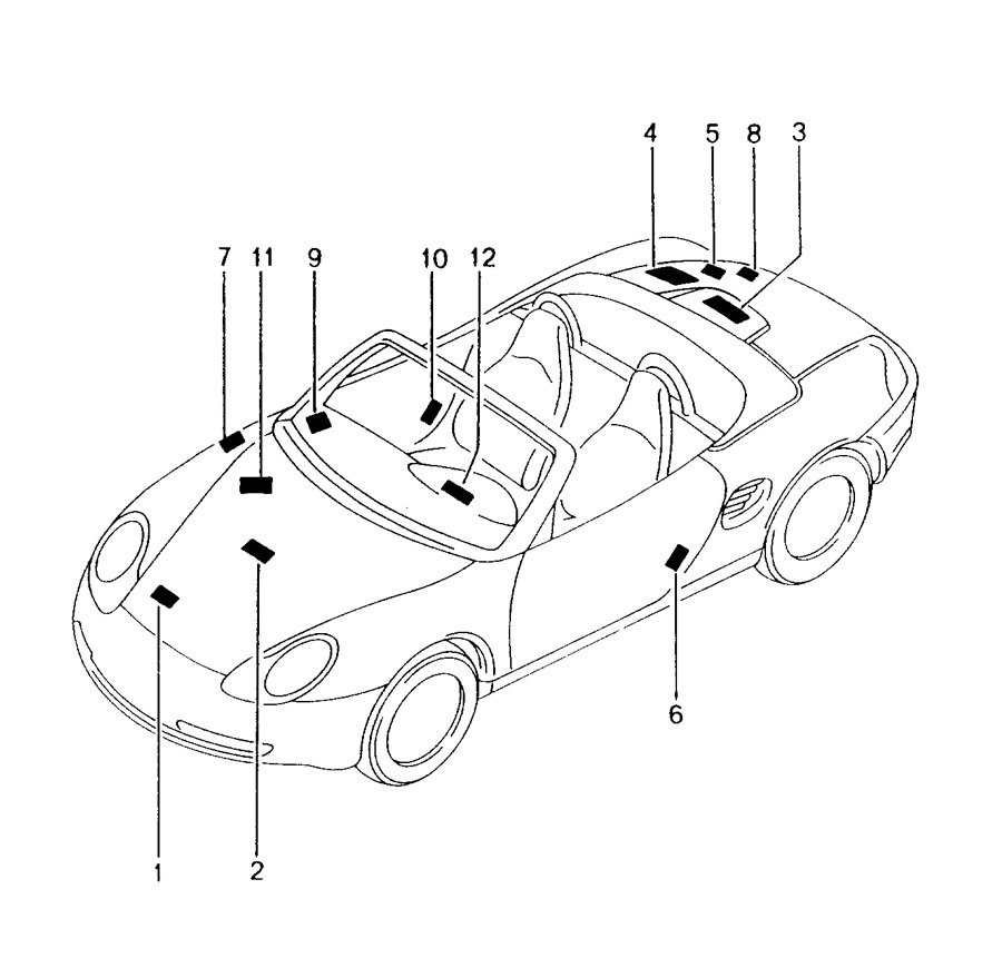 Porsche Boxster Engine Decal. 3.2 liter. LABELS