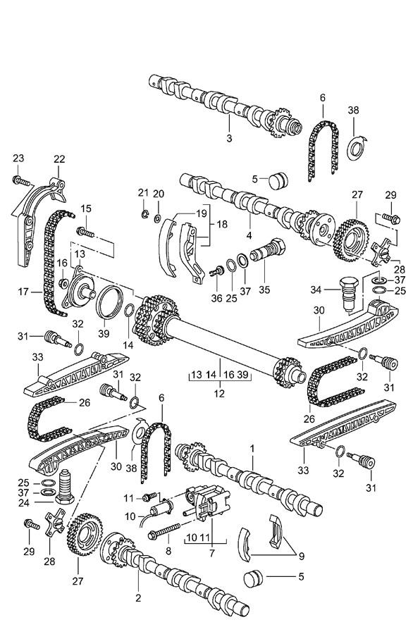 Porsche Boxster camshaft driving mechanism