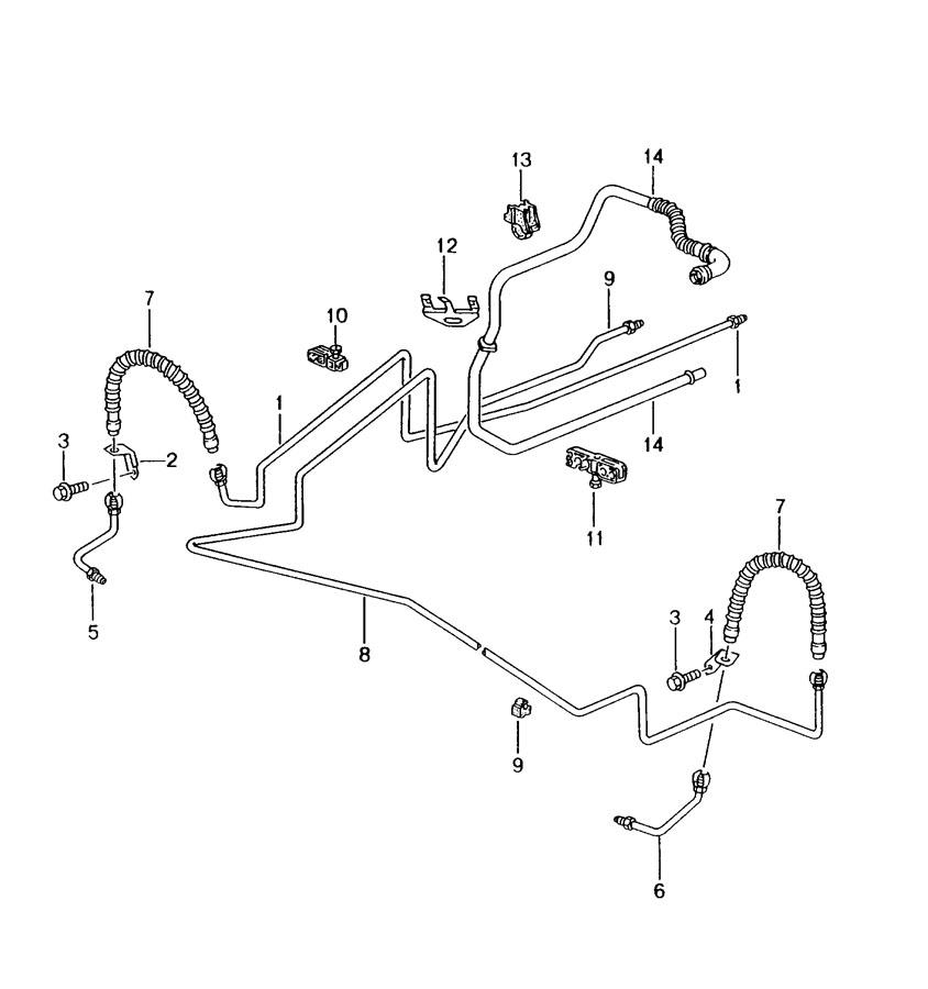 Porsche Boxster Brake line support. Pipeline, Actuation