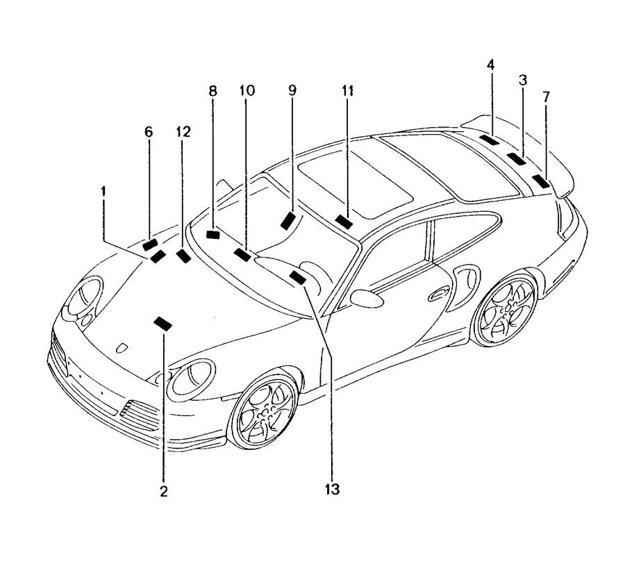 Porsche 911 Engine Decal. Tire pressure, GT2. LABELS