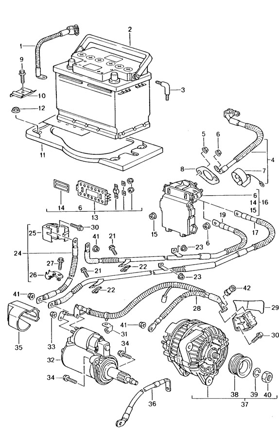 Porsche 911 With wiring harness starter connection point