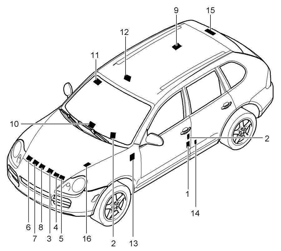 Porsche Cayenne Engine Decal. Belt routing. LABELS, Info