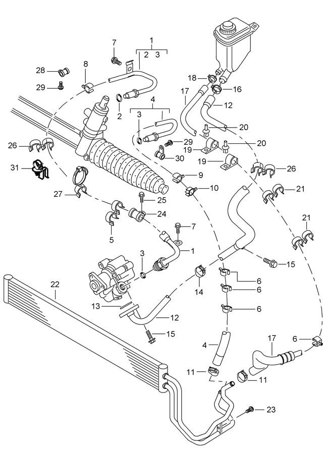 2004 Porsche Cayenne Steering gear pressure line power