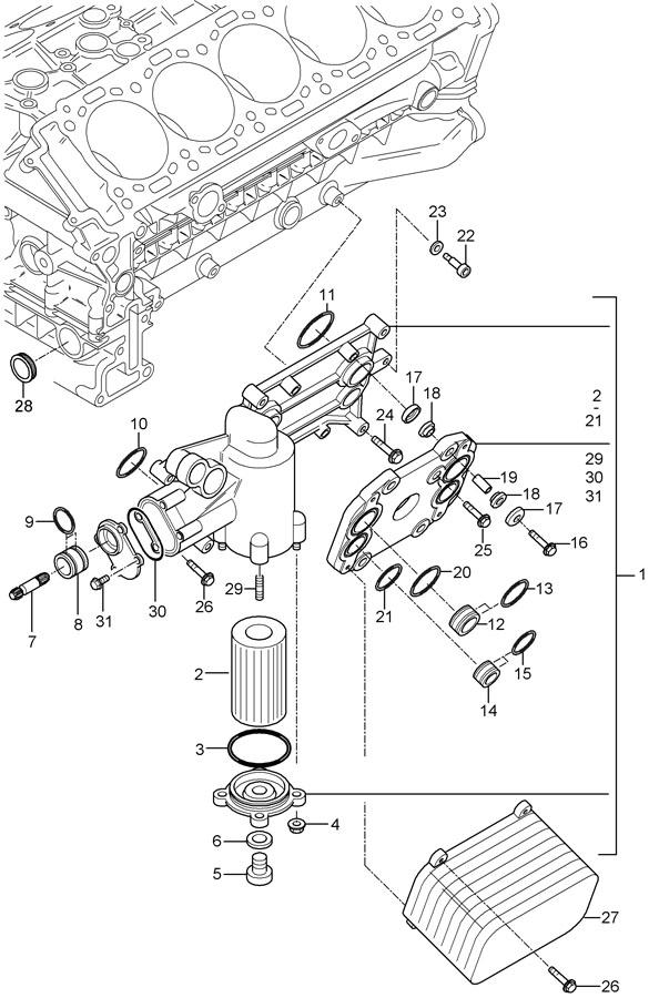 Porsche Carrera GT With sealing ring filter element
