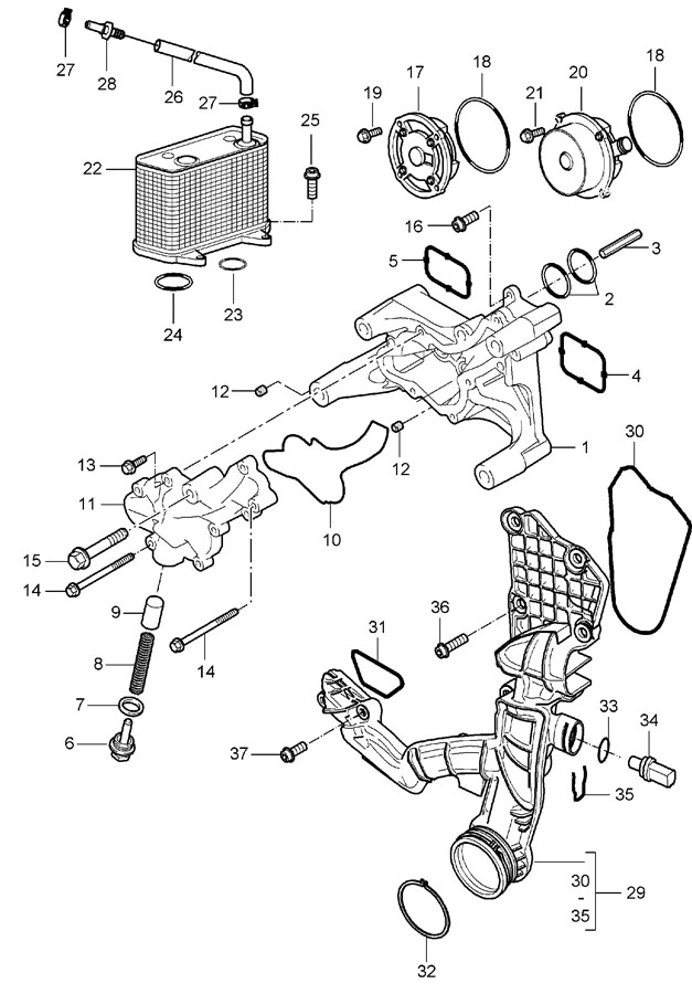Porsche Boxster Oil. Cooler. Ring. Seal. Engine. 2005-08