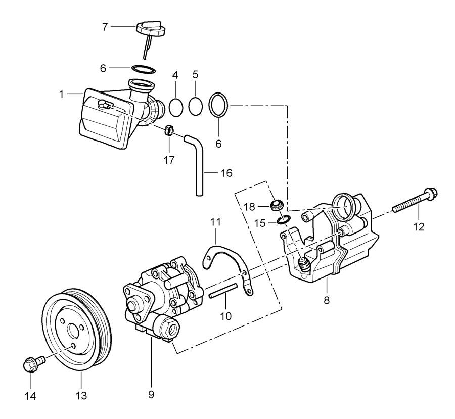Porsche Boxster Power Steering Pump Pin. 2005-08. 2006-08