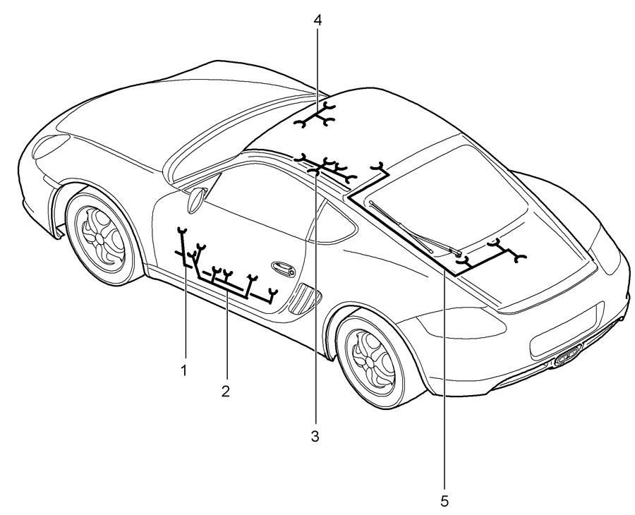 Porsche Cayman Wiring harness passenger's door door panel