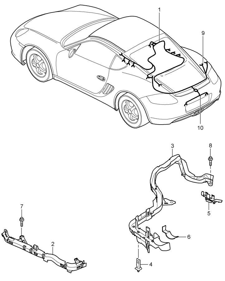 Porsche Cayman Wiring harness for cable guide. ParkAssist