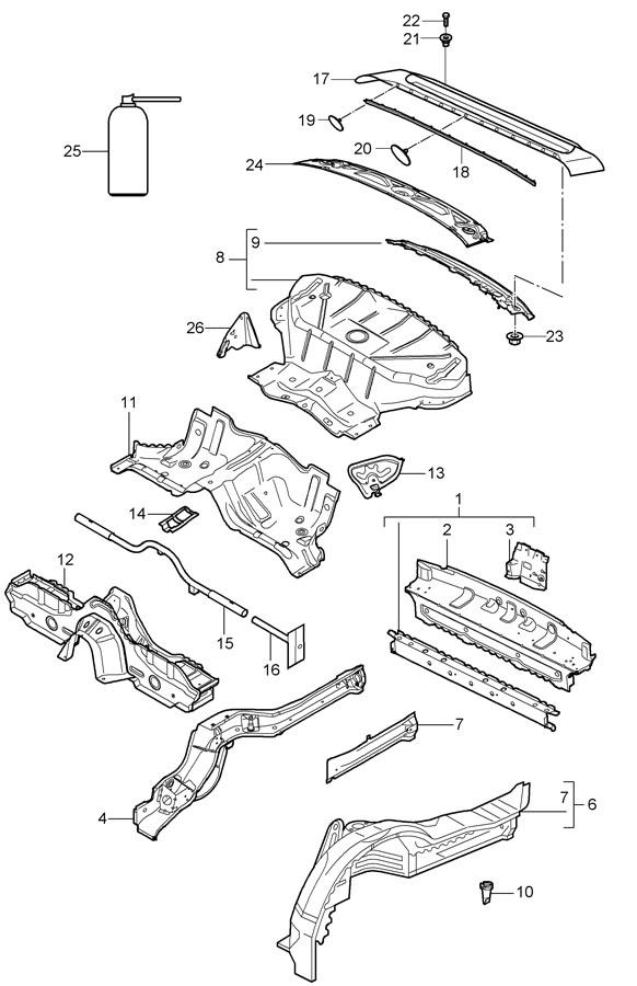 Porsche 911 Panel mount. (Upper). CONVERTIBLE, inner