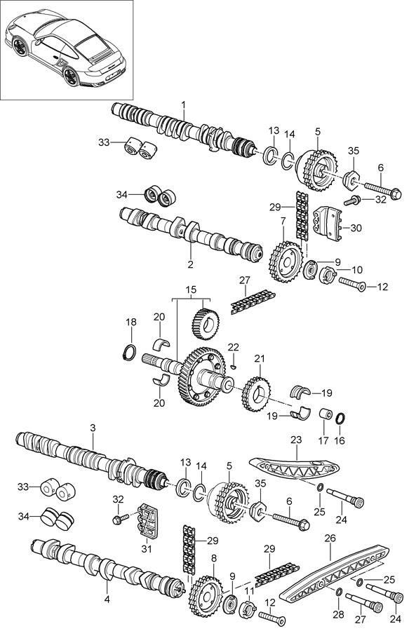 2011 Porsche 911 GT3 Engine Timing Chain Tensioner. 911