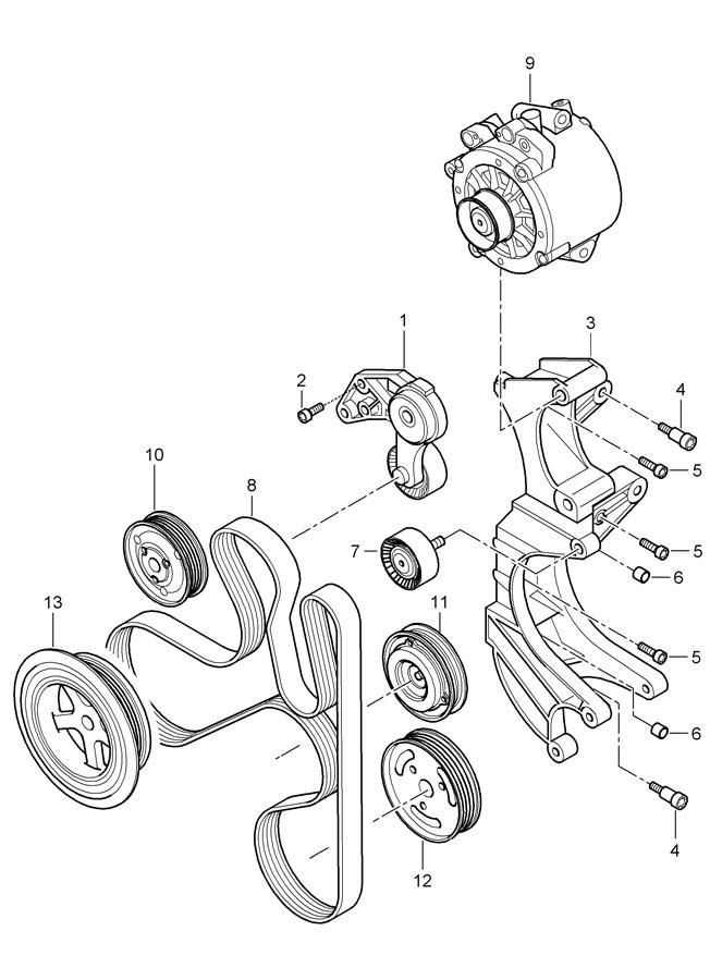 Porsche belt tensioner belt drive