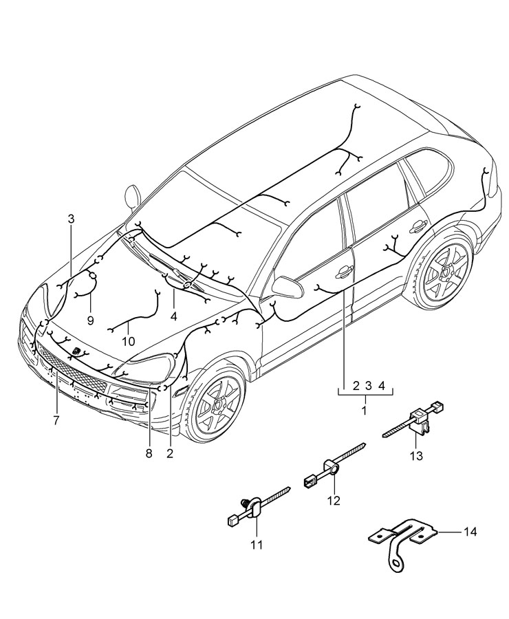 Porsche Cayenne Wiring harness sub-part it is necessary to