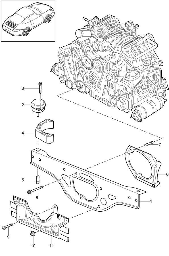 Porsche 911 Engine Carrier. Engine cradle. Engine Mount