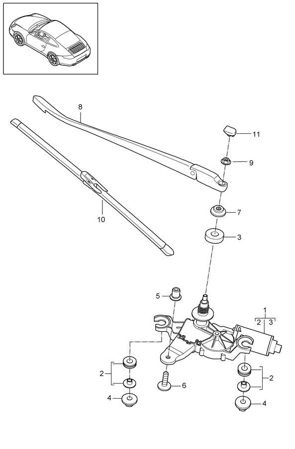 Porsche 911 Back Glass Wiper Motor Hardware Kit. COUPE