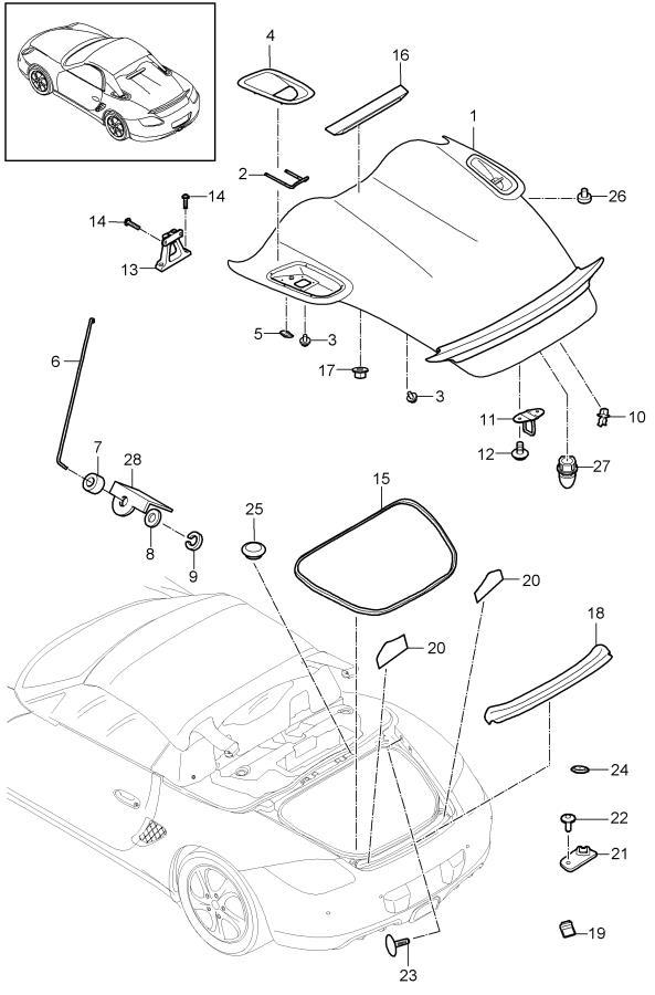 Porsche Boxster Radio Antenna Base Cap. Compartm, Stopper