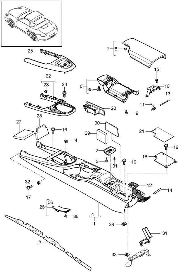 Porsche Boxster Console Panel. CONSOLE BASE & TRIM